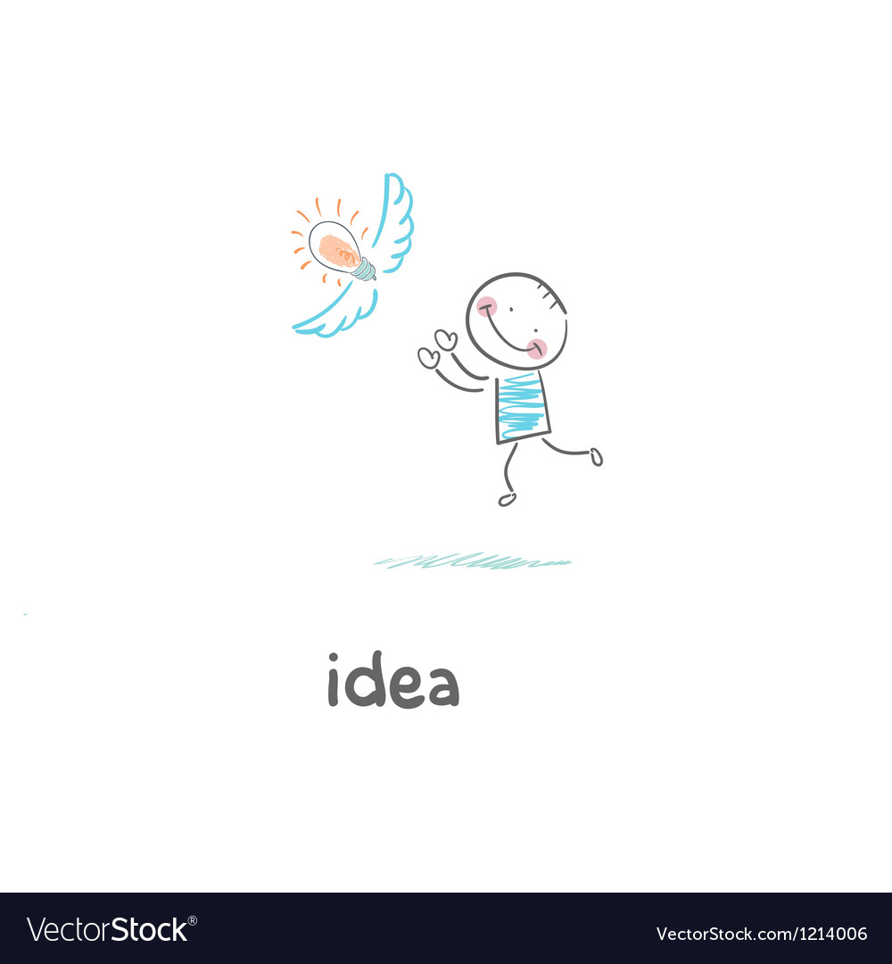 A man catches his idea vector image