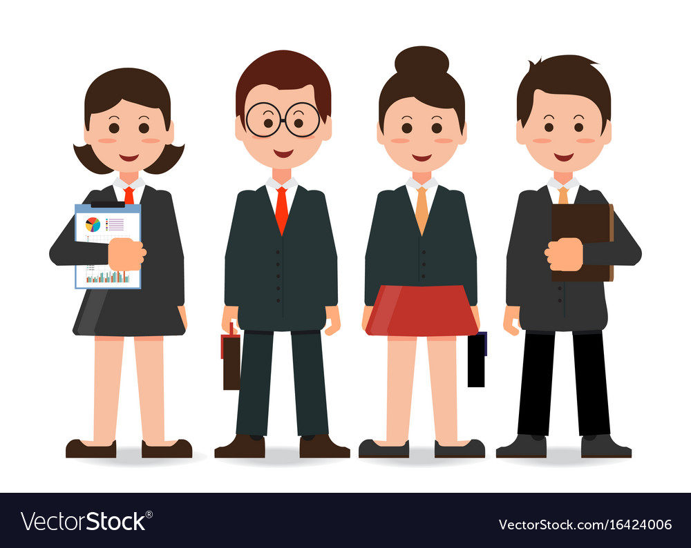 Happy smiling business team in office vector image