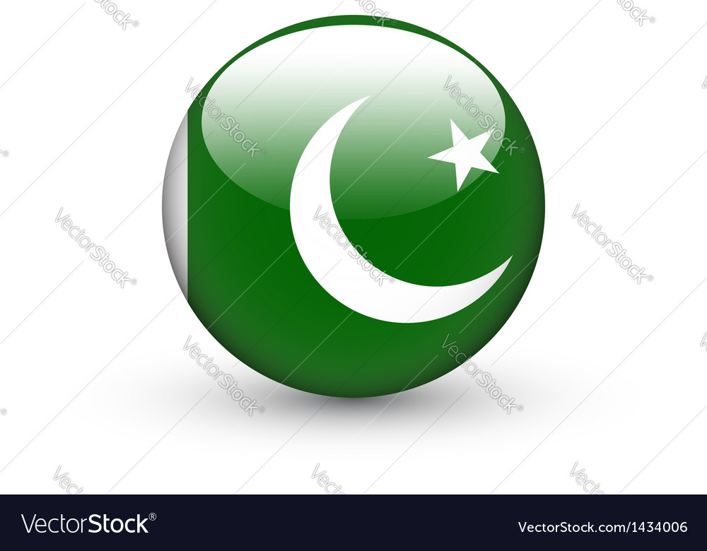 Round icon with national flag of Pakistan vector image