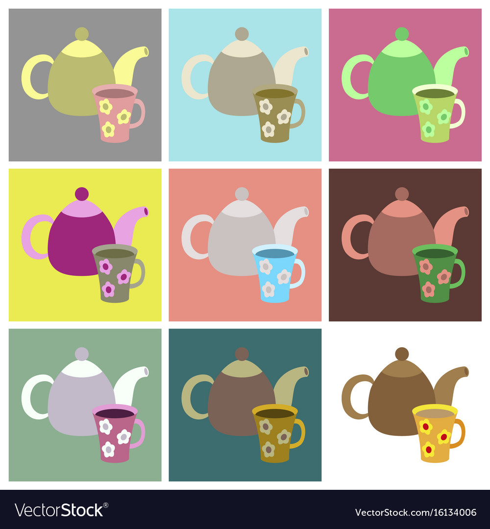 Set icons in flat design tea kettle and cup vector image