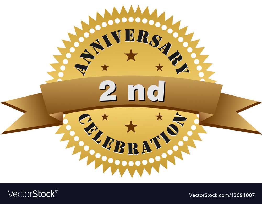 Nd anniversary gold logo royalty free vector image