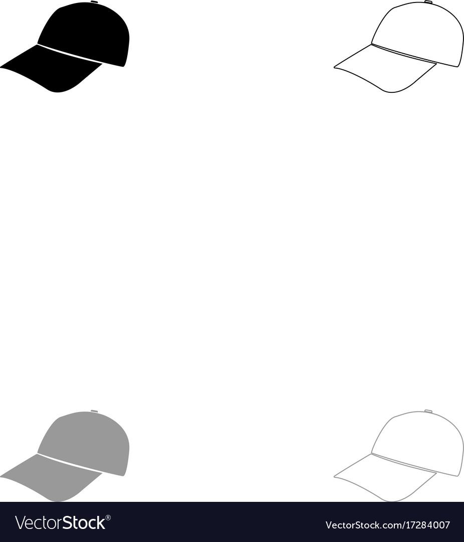 Baseball cap black and grey set icon vector image