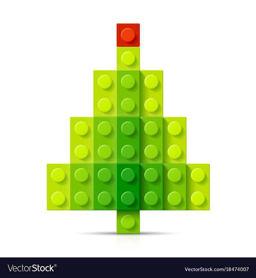 Christmas tree made of plastic blocks vector image