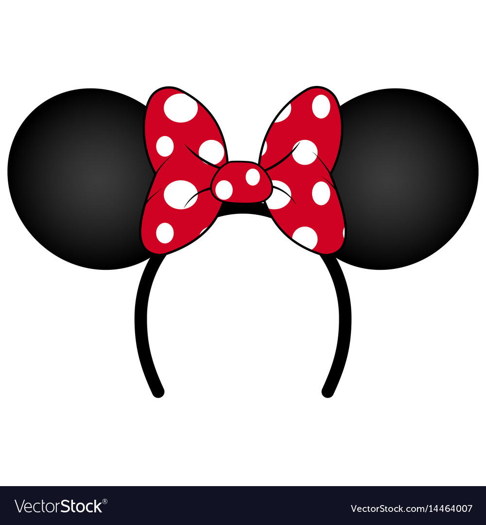 Perfect mouse ears with red bow headband vector image