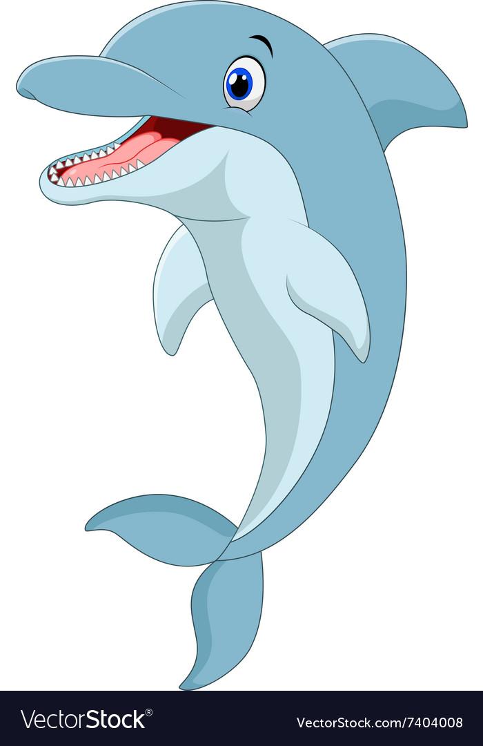 Cartoon funny dolphin jumping vector image