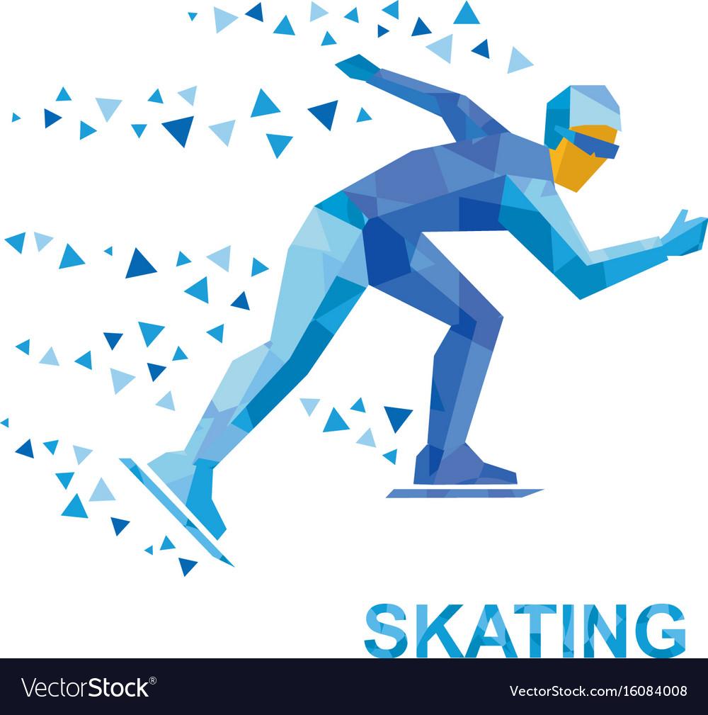 Winter sports - skating skater running on white vector image