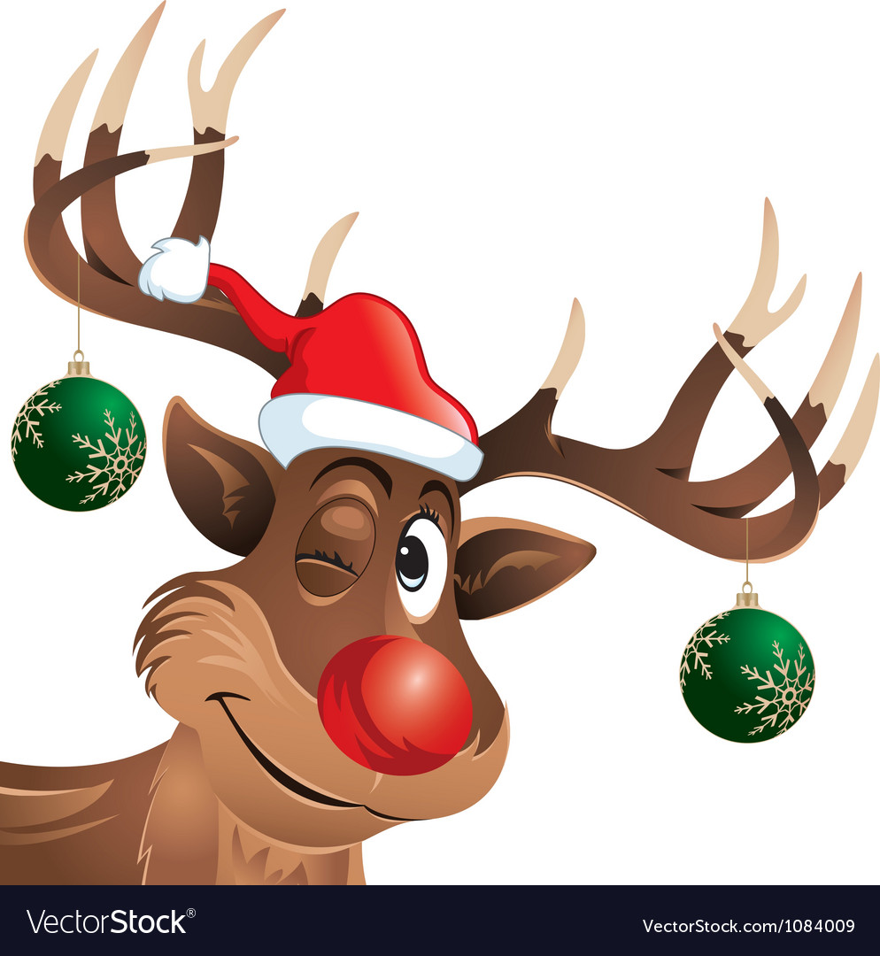 Rudolph the reindeer winking with Christmas Balls vector image