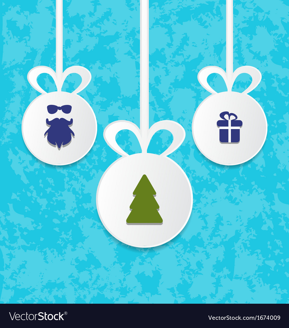 Christmas balls with decoration design elements vector image