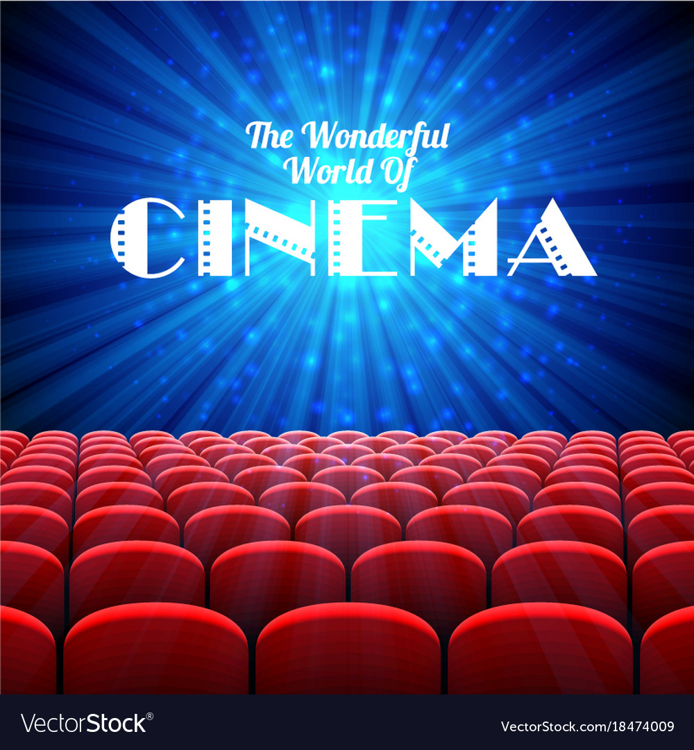 The wonderful world of cinema background with vector image