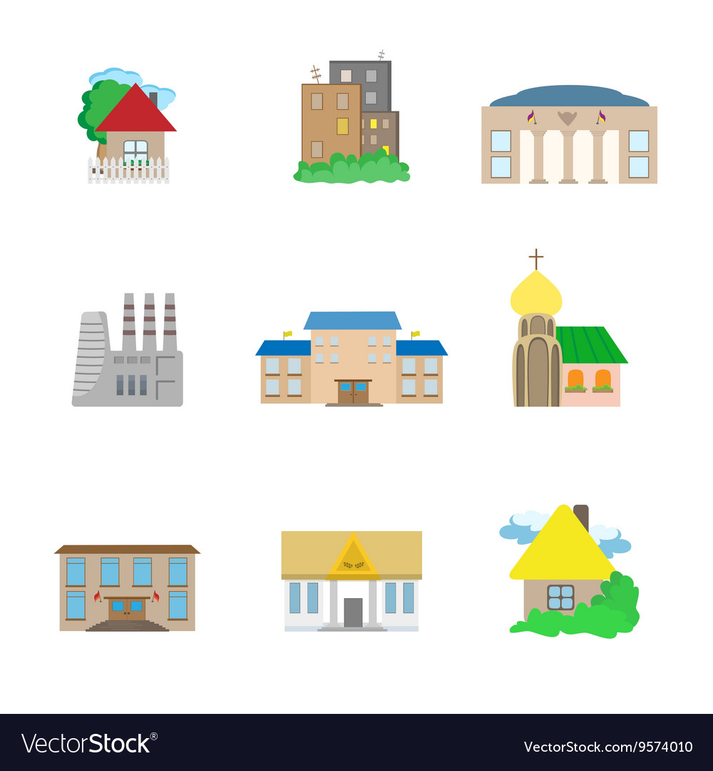 Flat Architecture icons vector image