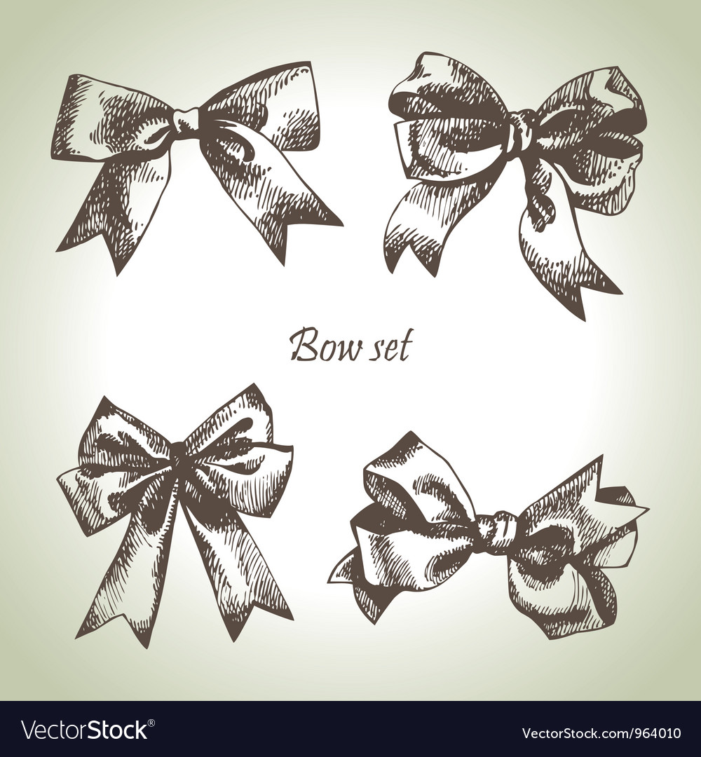 Set of bow Hand drawn of ribbons vector image