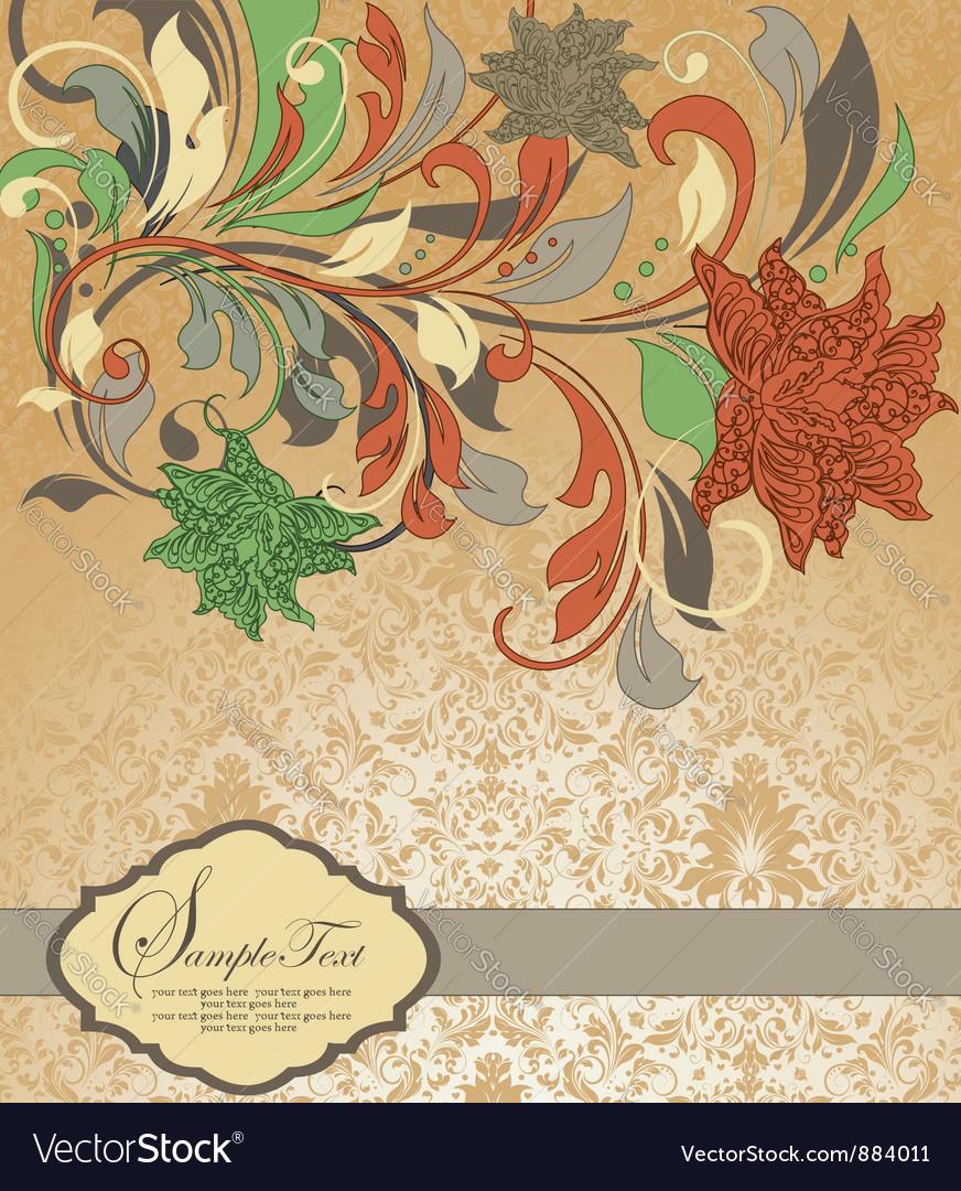 Damask invitation card vector image