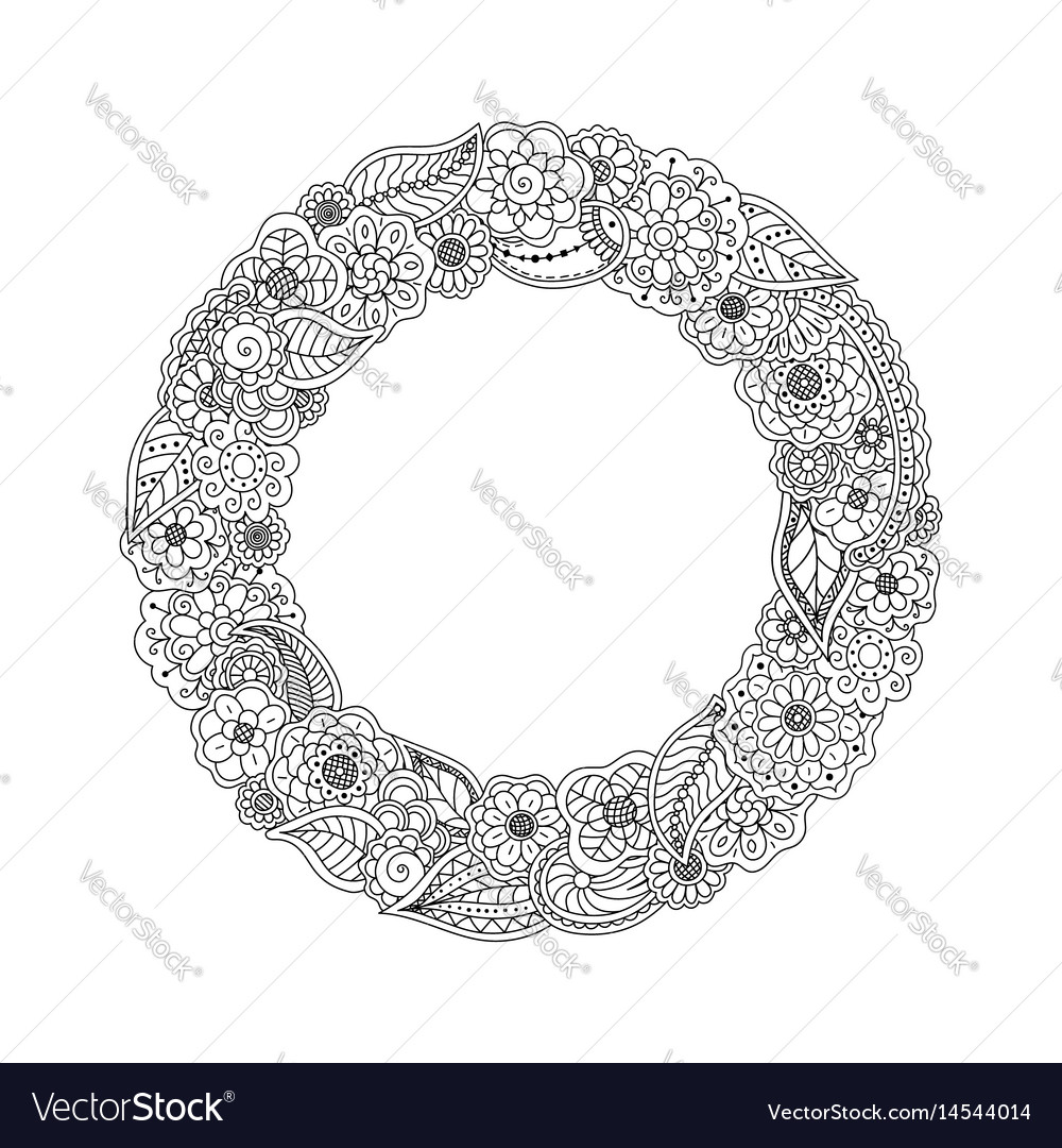Round circle frame of doodle flowers vector image