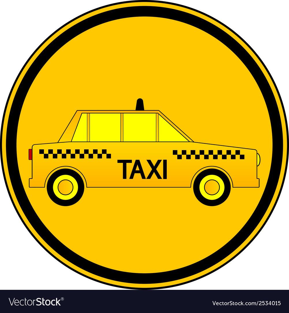Taxi car button vector image