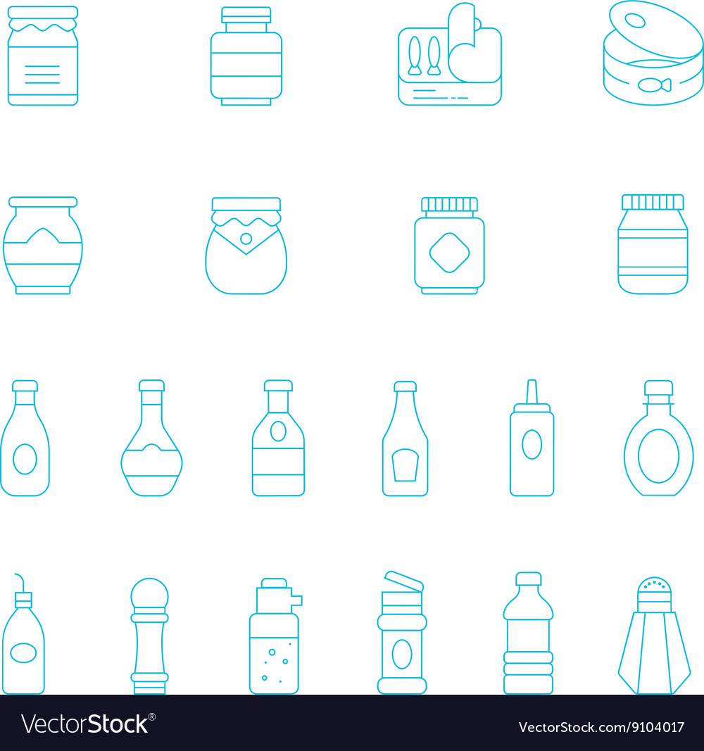 Thin lines icon set - ketchup vector image