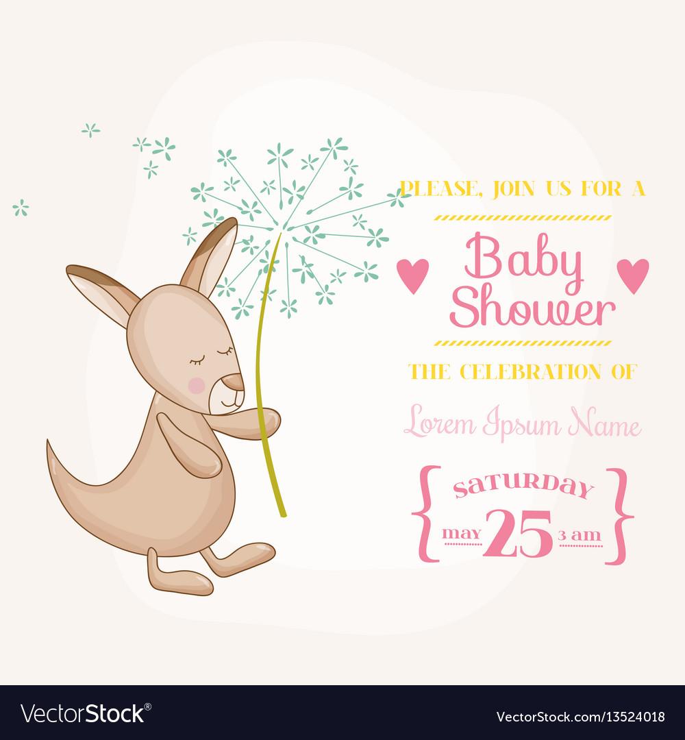 Baby girl kangaroo holding flower - baby shower vector image