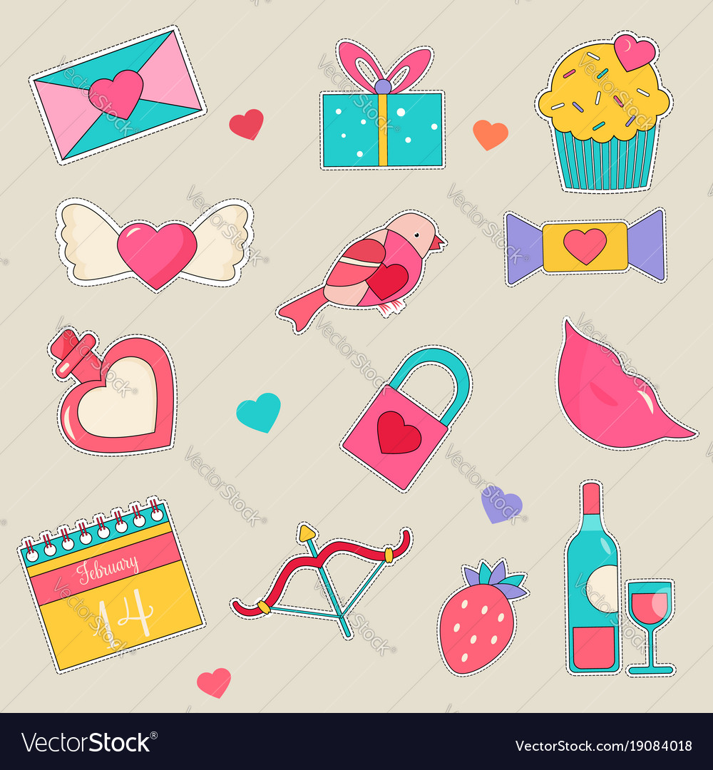 set of holiday stickers for valentines day vector image - Valentines Day Stickers