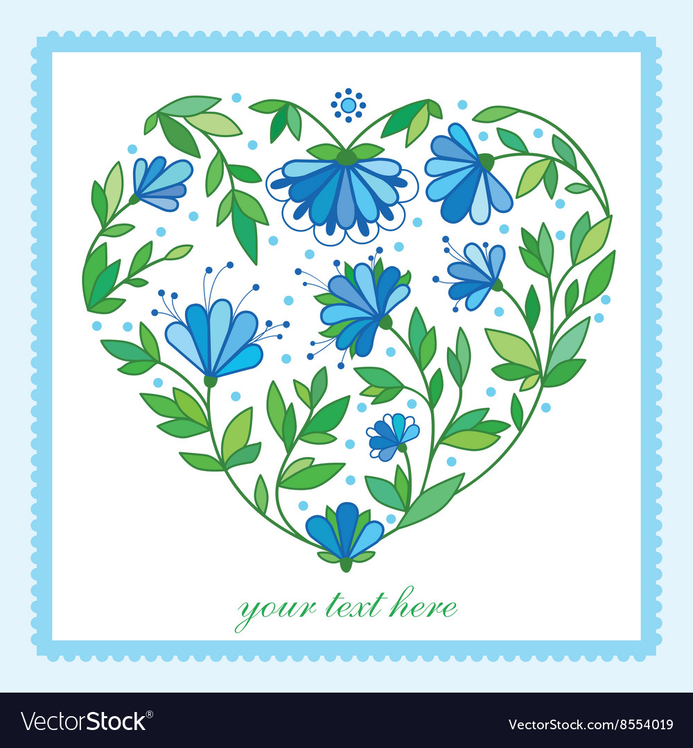 Flower heart for wedding or Valentines day design vector image