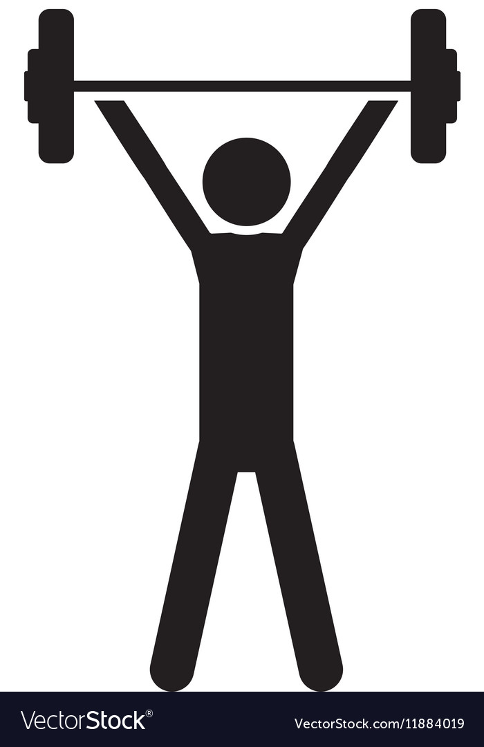 silhouette monochrome with man weightlifting vector image