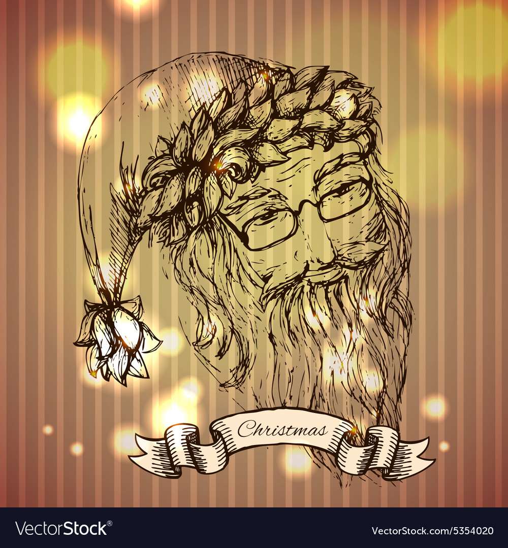 Santa Claus hand drawn llustration realistic vector image