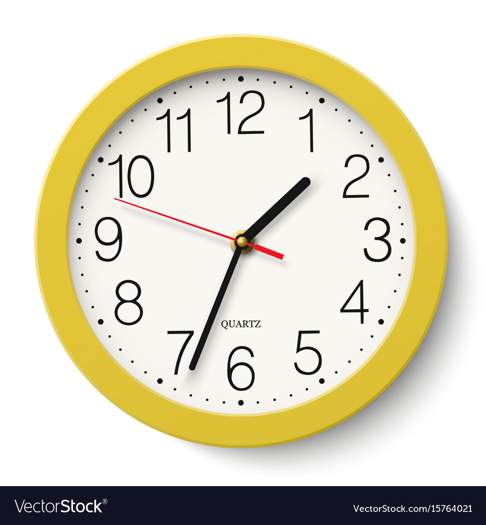 Classic round wall clock in yellow body isolated vector image