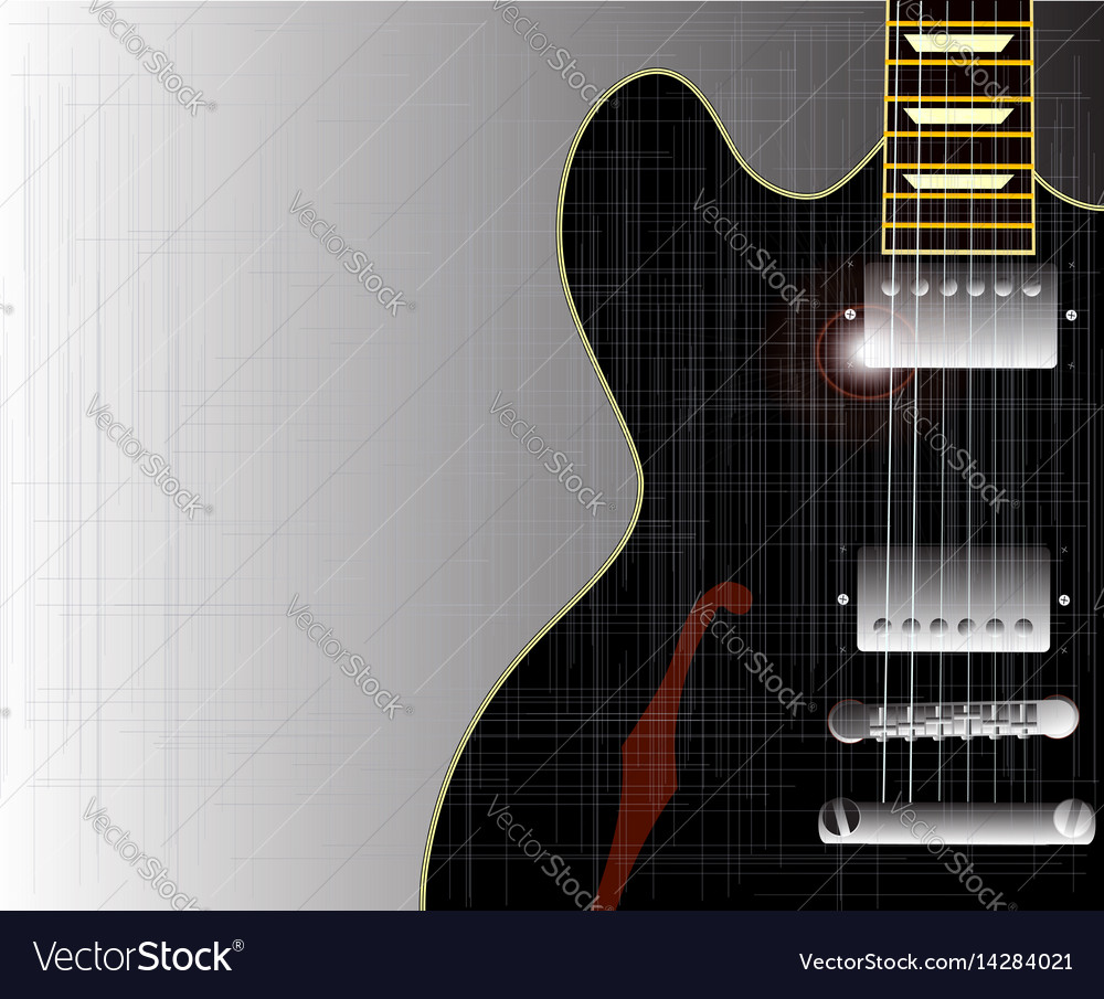 Old grunge blues guitar vector image