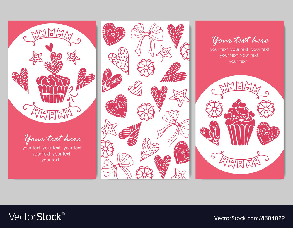 Business cards with cupcakes vector image