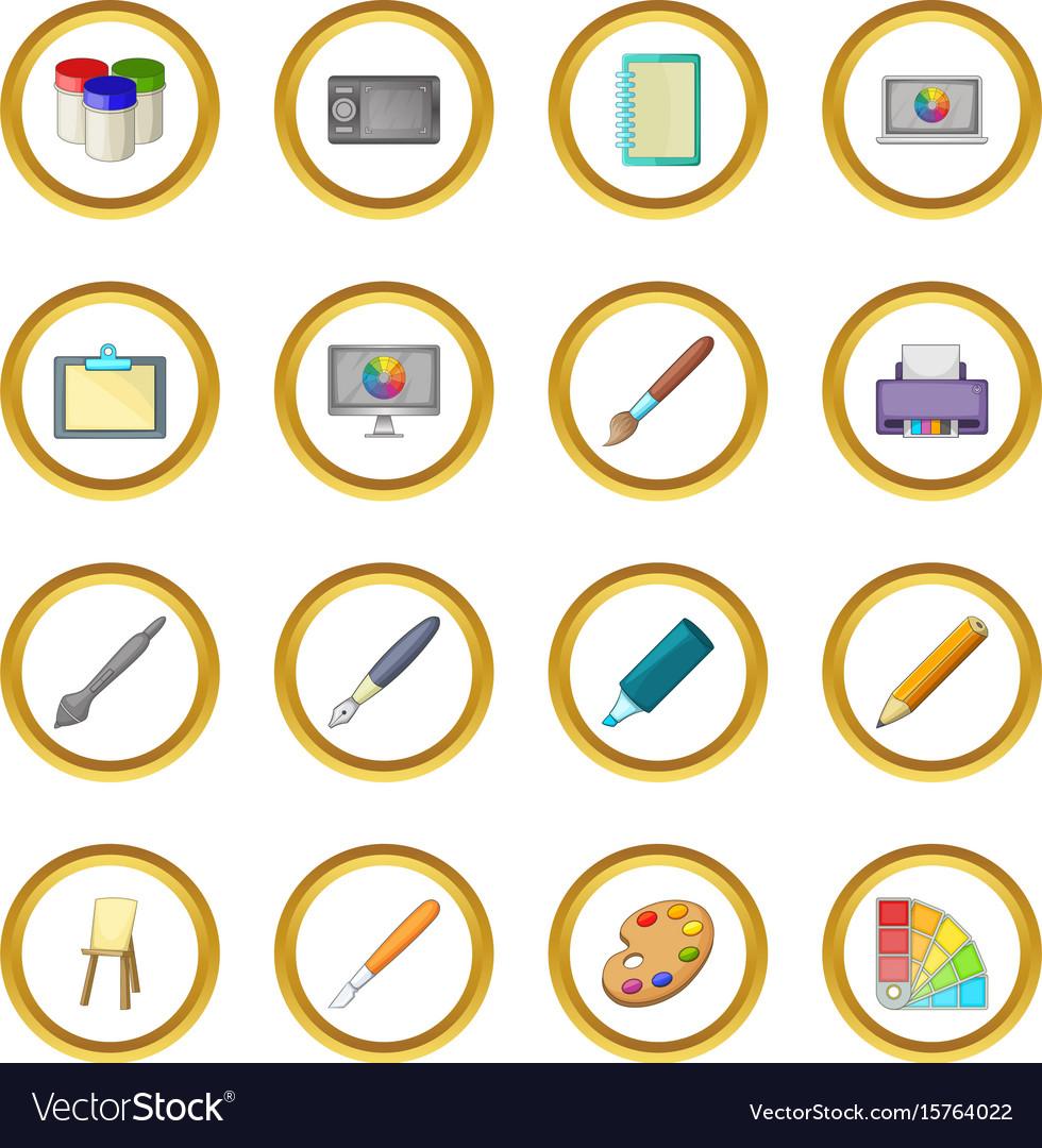 Drawing and painting tool icons circle Royalty Free Vector