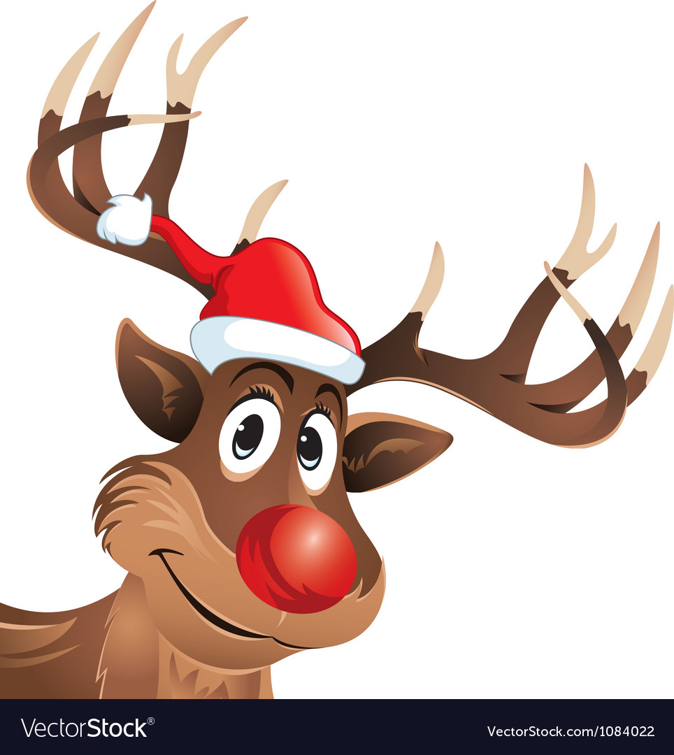 Rudolph the reindeer with red nose and hat vector image