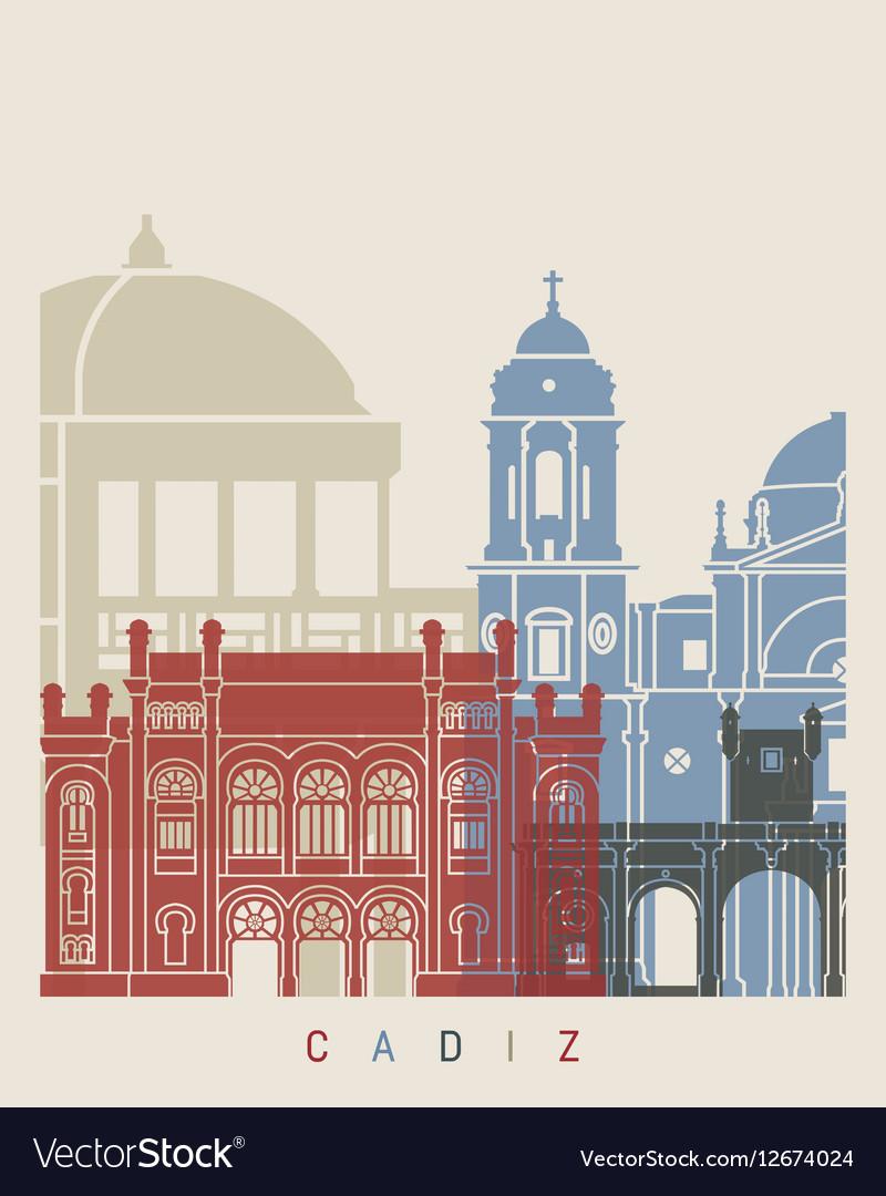 Cadiz skyline poster vector image