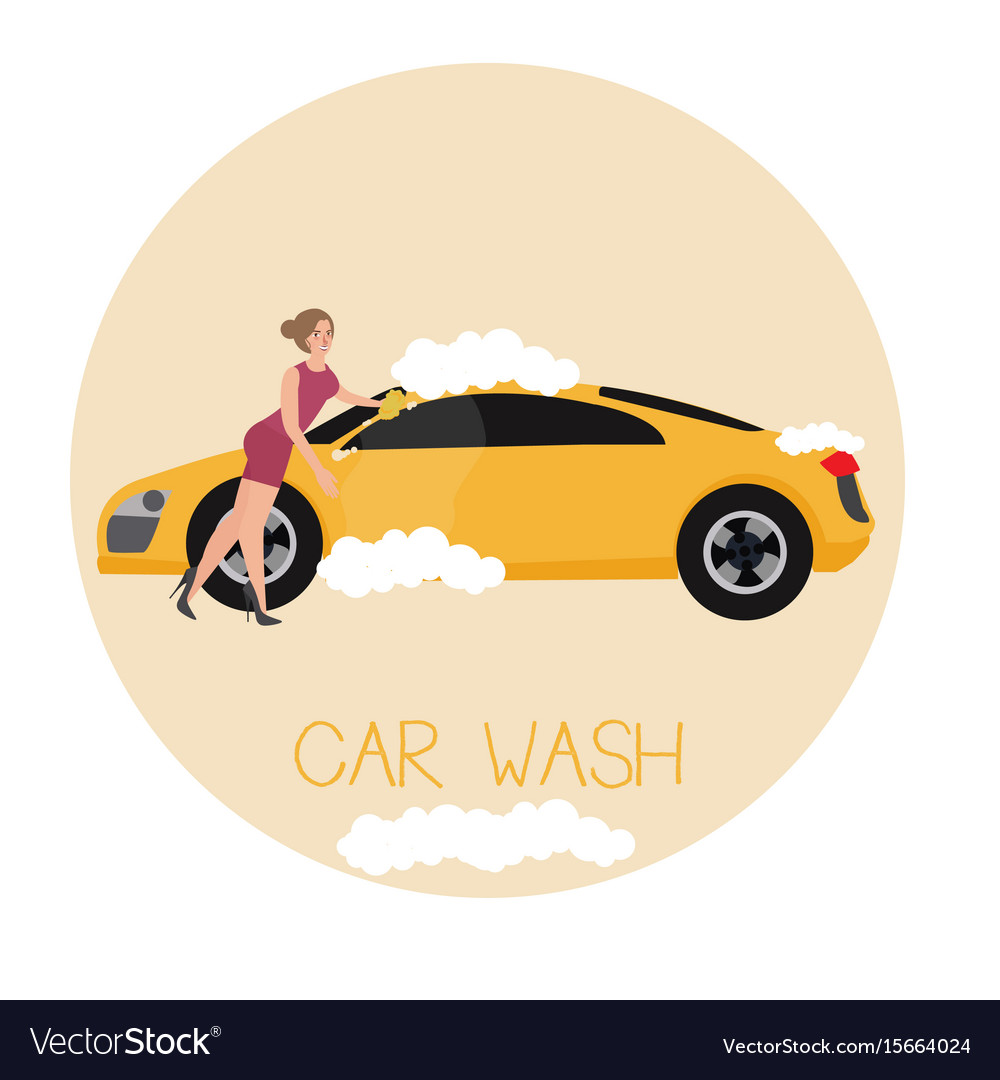 Car wash services by sexy girl vector image