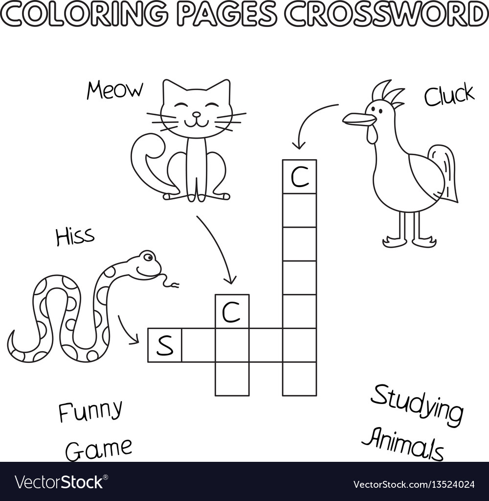 Funny animals coloring book crossword Royalty Free Vector