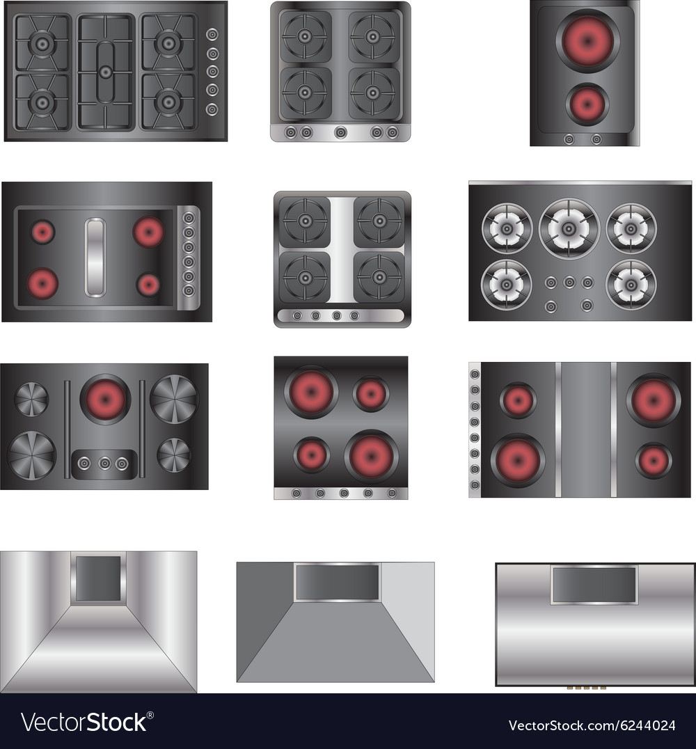 Kitchen Set Top View: Kitchen Equipment Electric Stove Top View Set 4 Vector Image