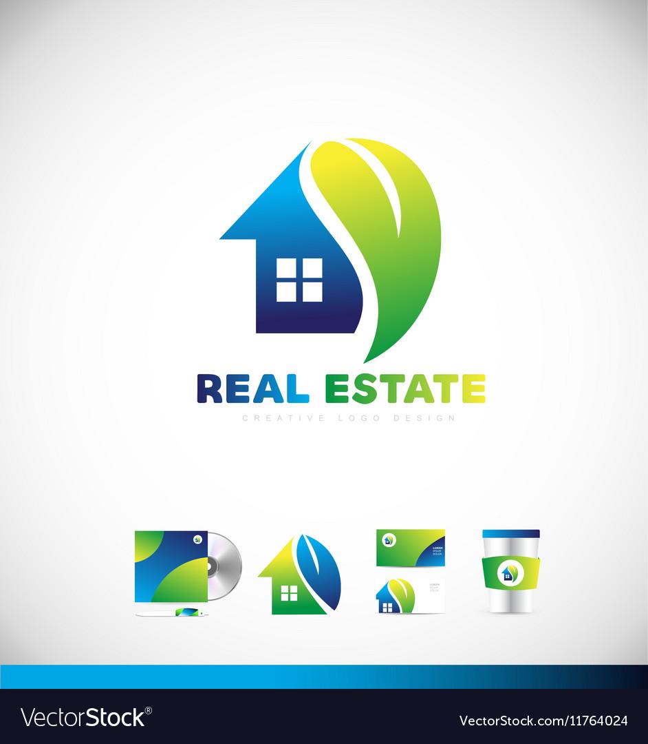 Real estate eco home logo icon design vector image