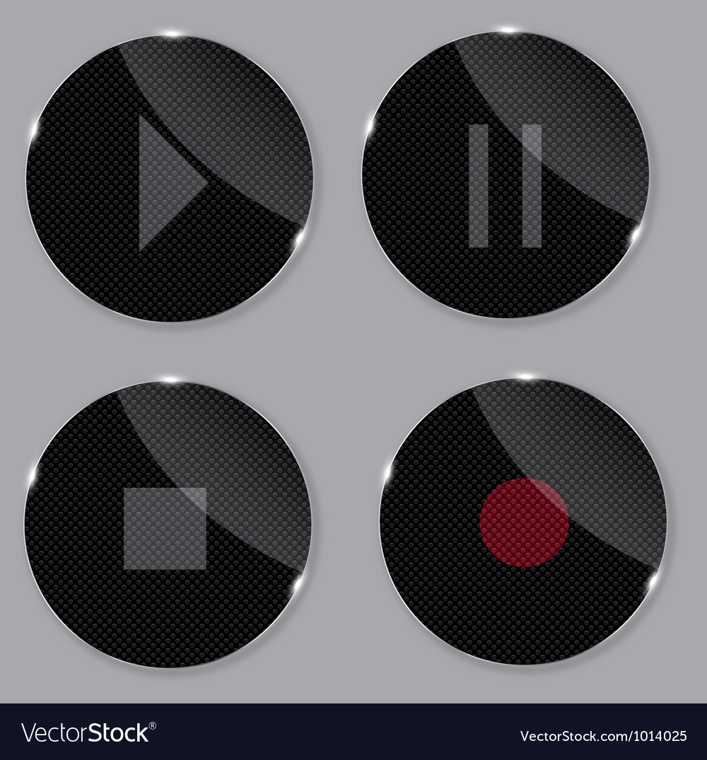 Set of media glass icons Vector Image