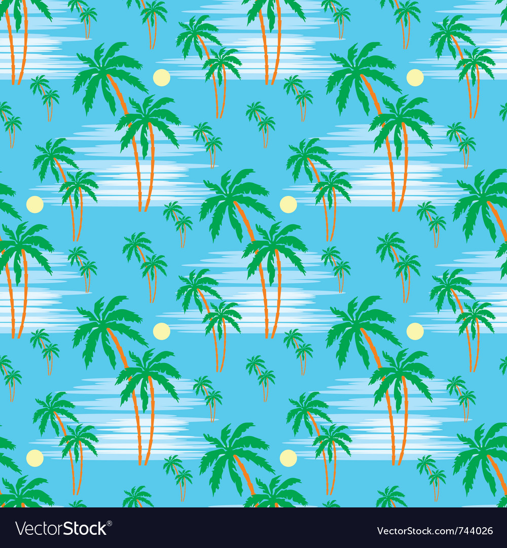 Seamless palm pattern vector image