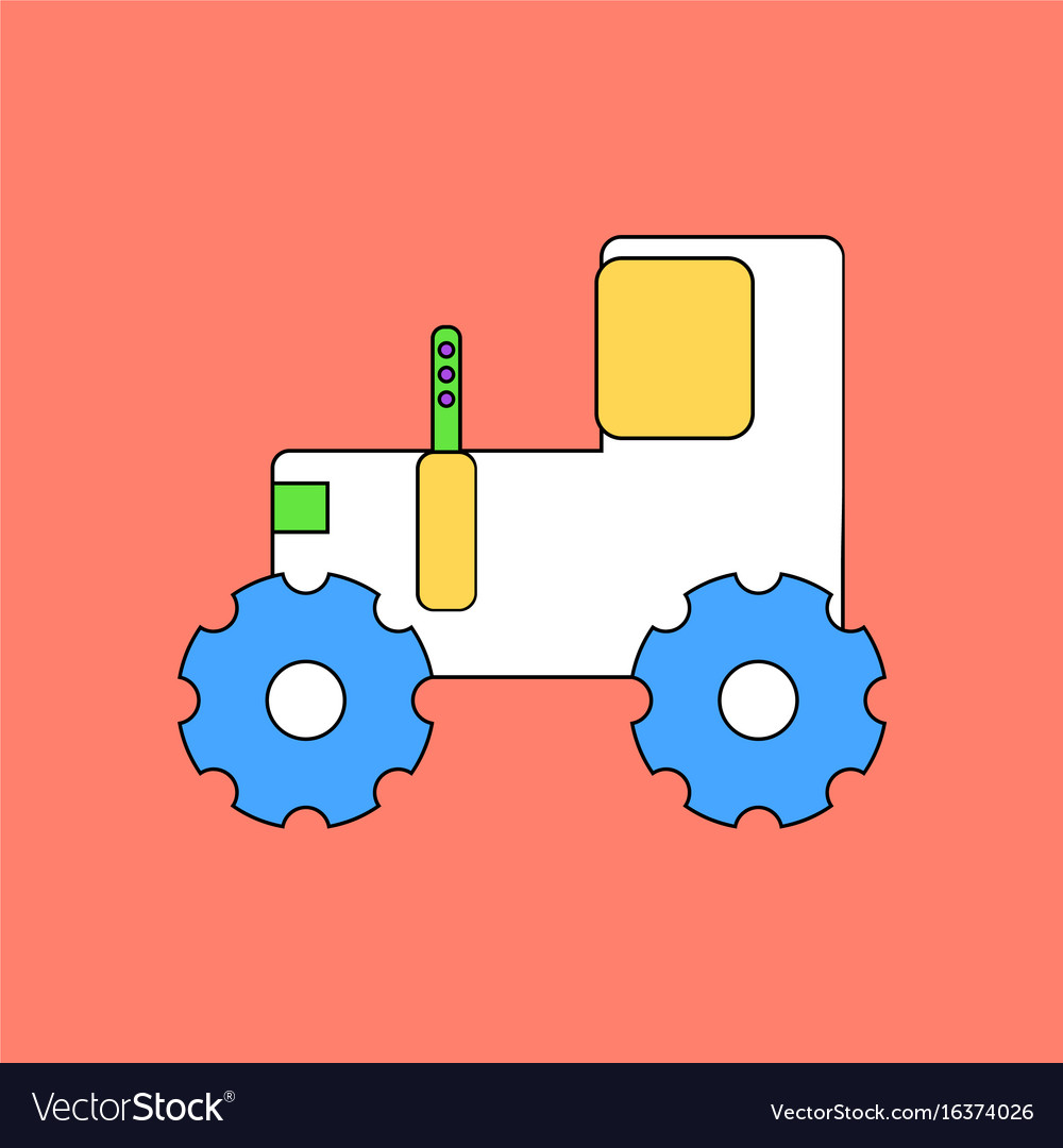 Flat icon design collection children tractor