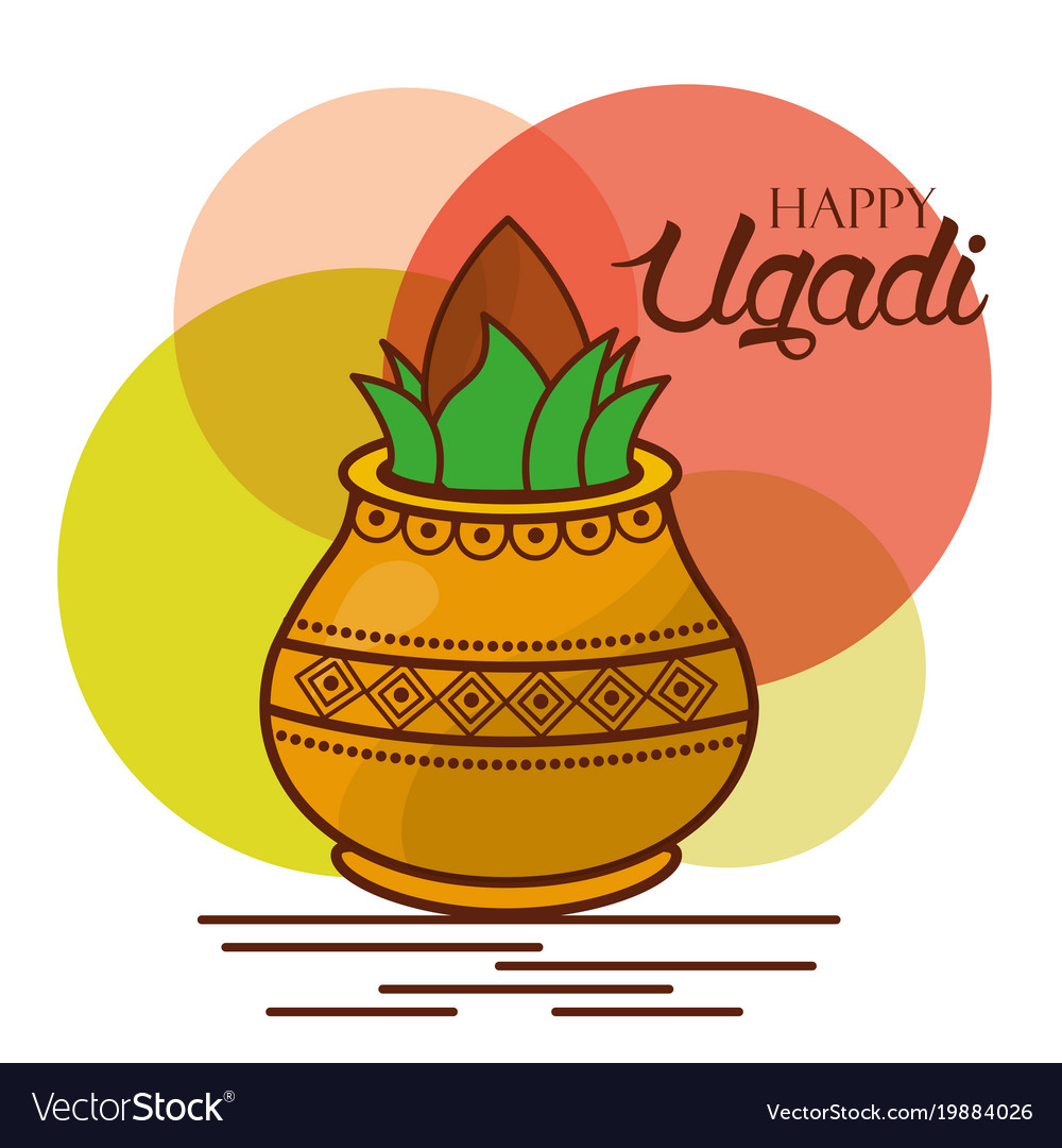 Happy ugadi greeting card celebration festival vector image m4hsunfo Image collections