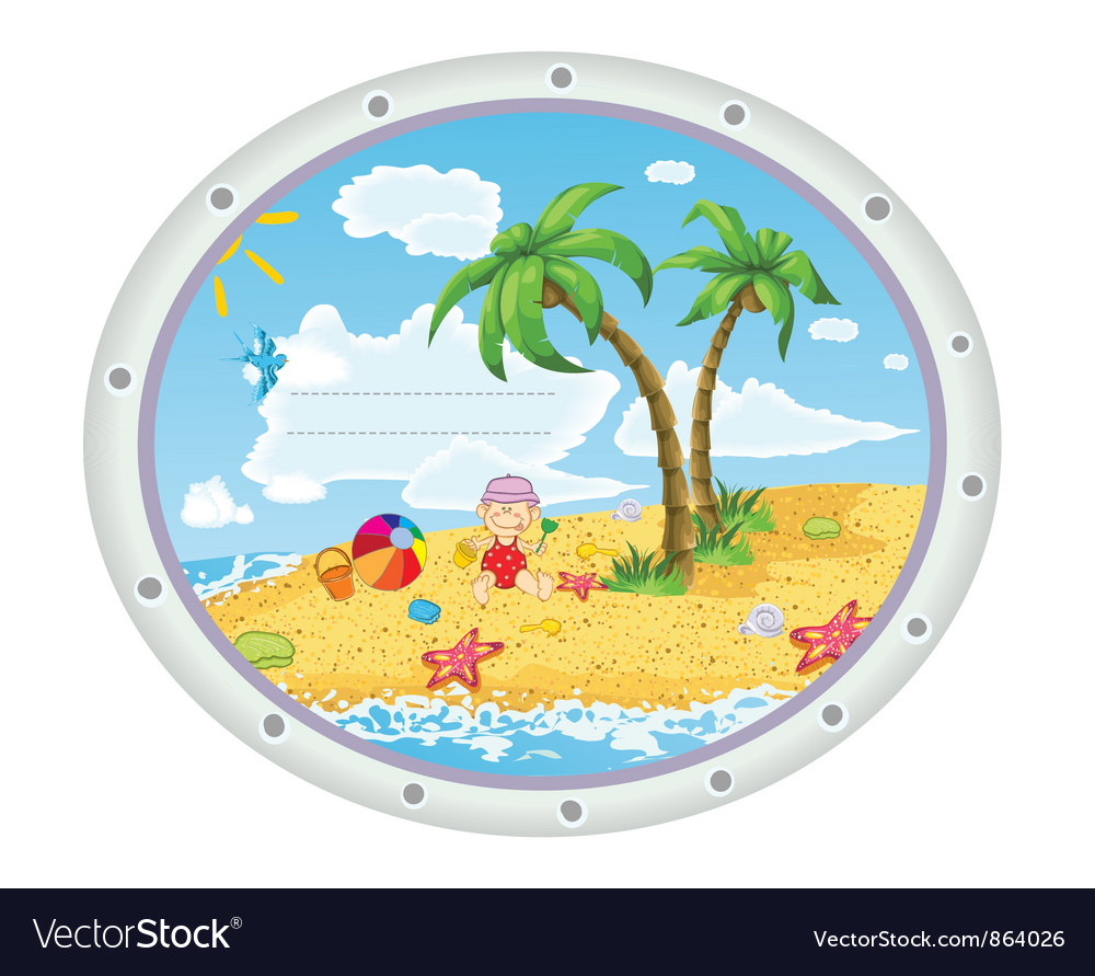 Kid playing at the beach vector image