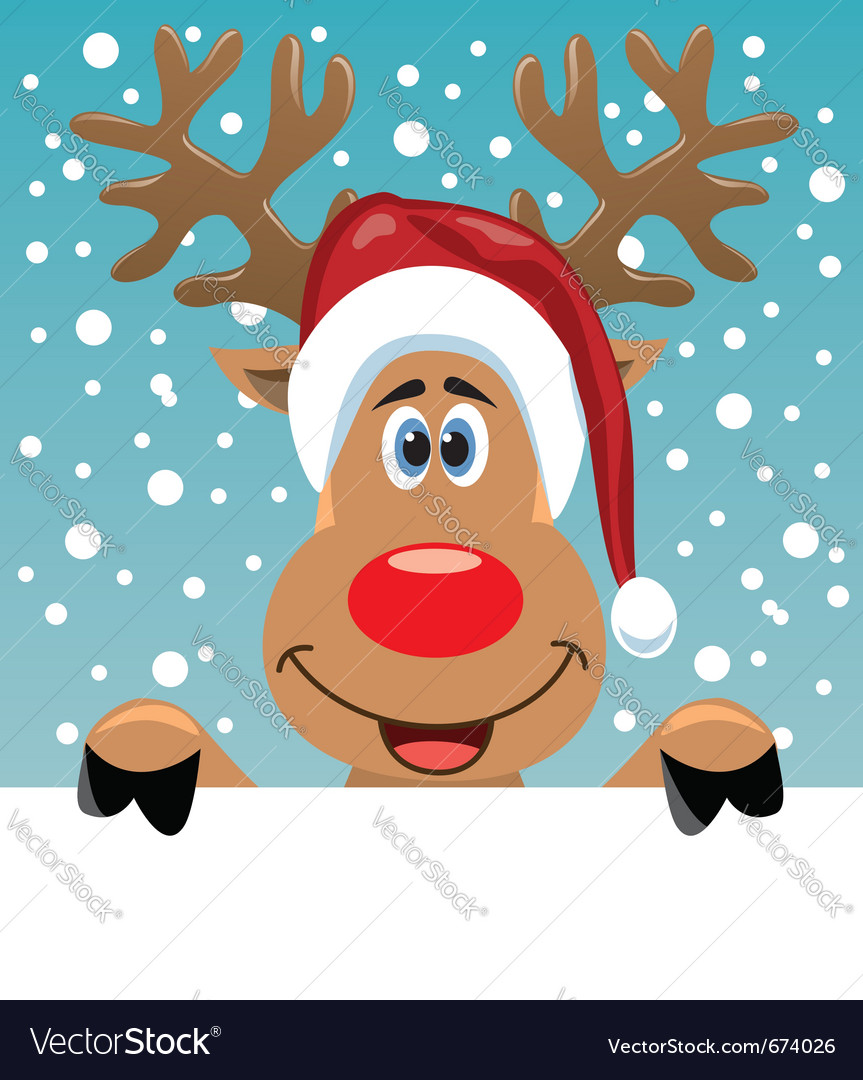 Rudolph deer holding blank paper vector image