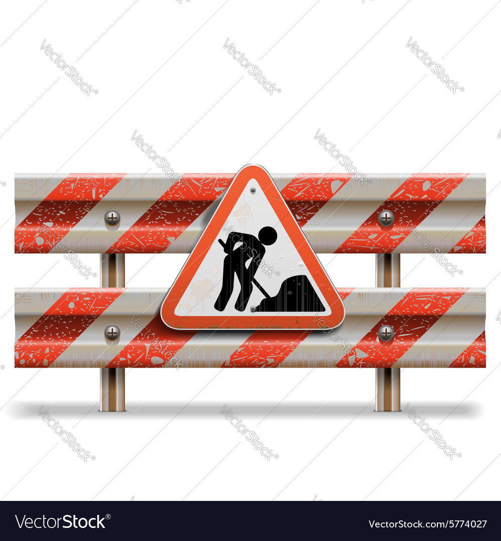 Old Barrier with Sign vector image