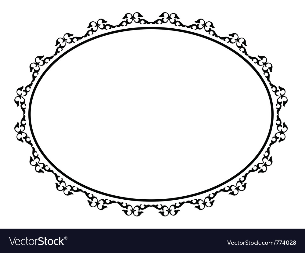 Oval ornamental decorative frame vector image