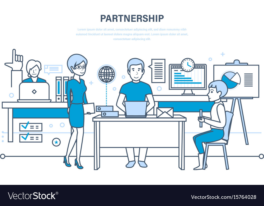 Partnerships teamwork activities communications vector image