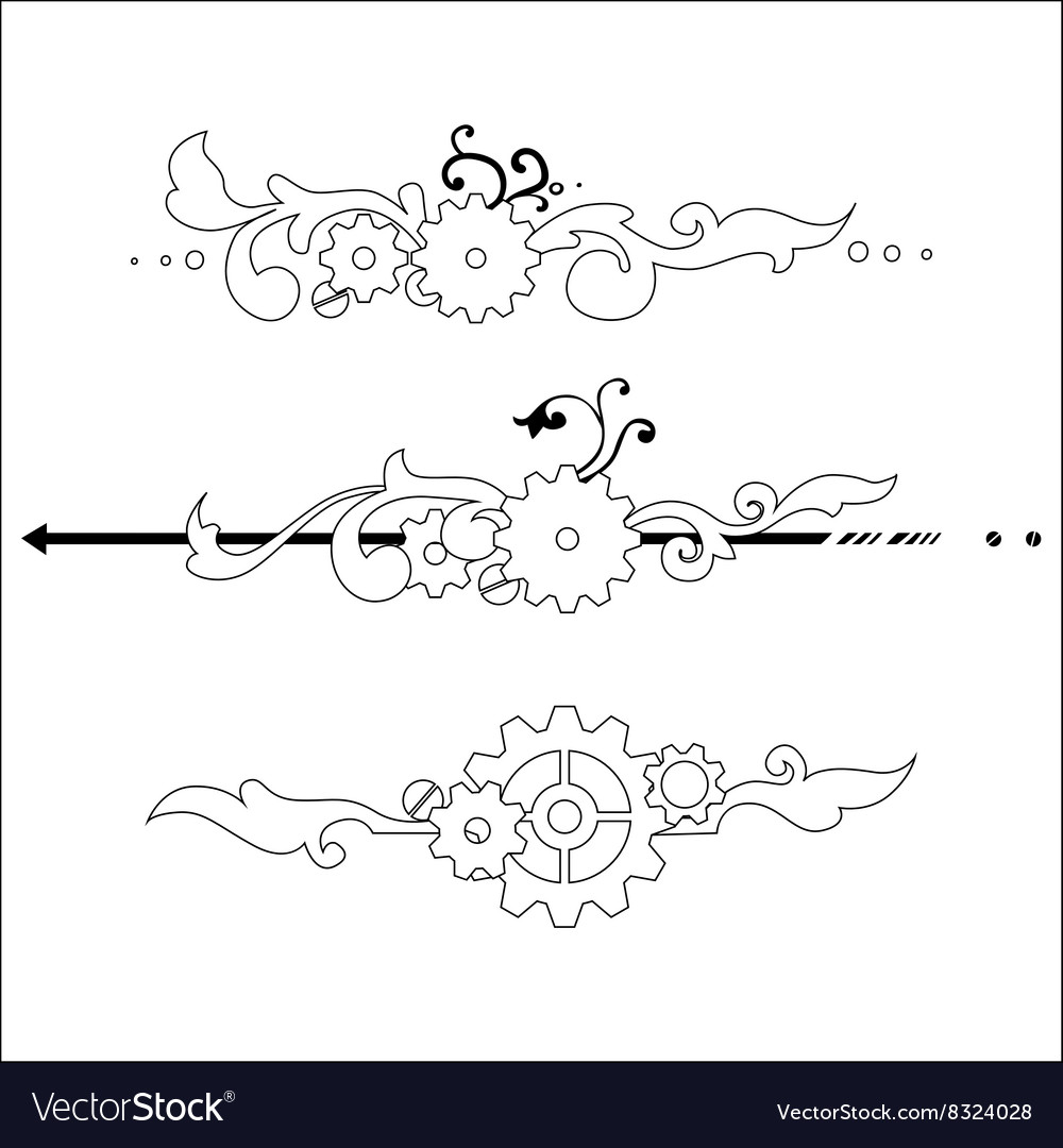 Victorian steampunk elements vector image
