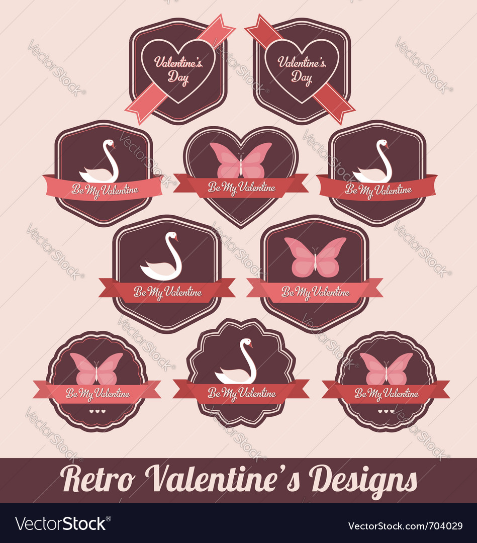 Retro valentine labels vector image