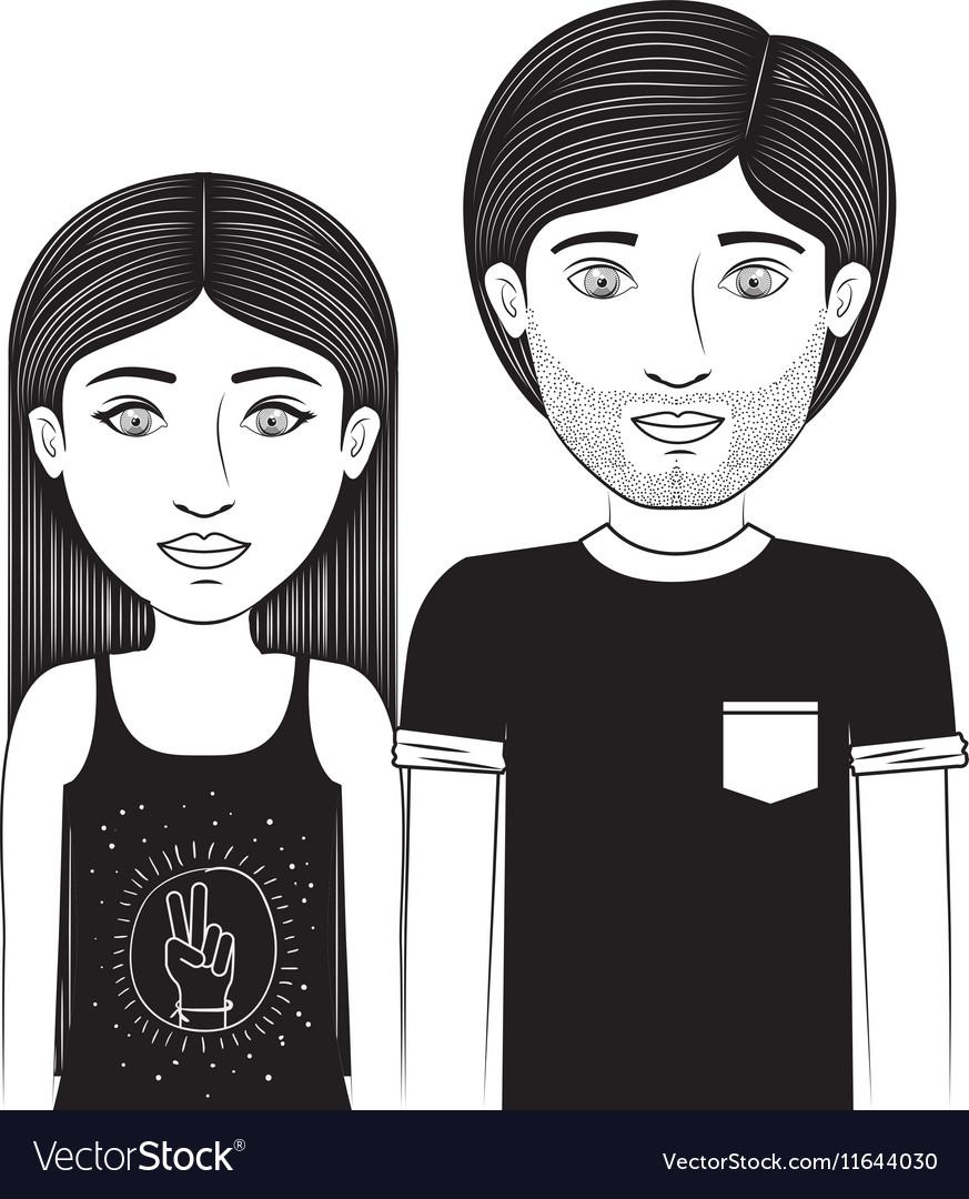 Black t shirt vector - Silhouette Couple Teenager With Black T Shirt Vector Image
