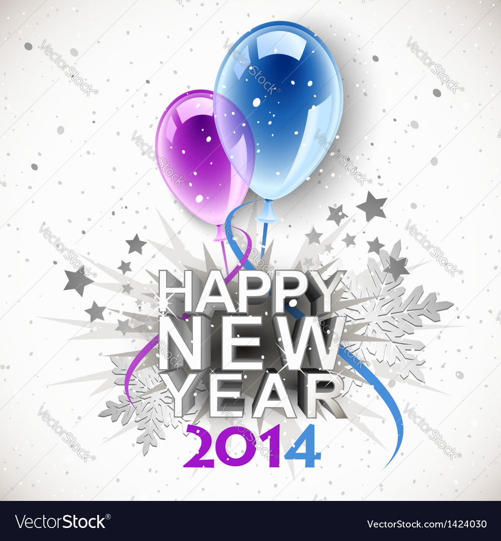 New year balloons 2014 vector image
