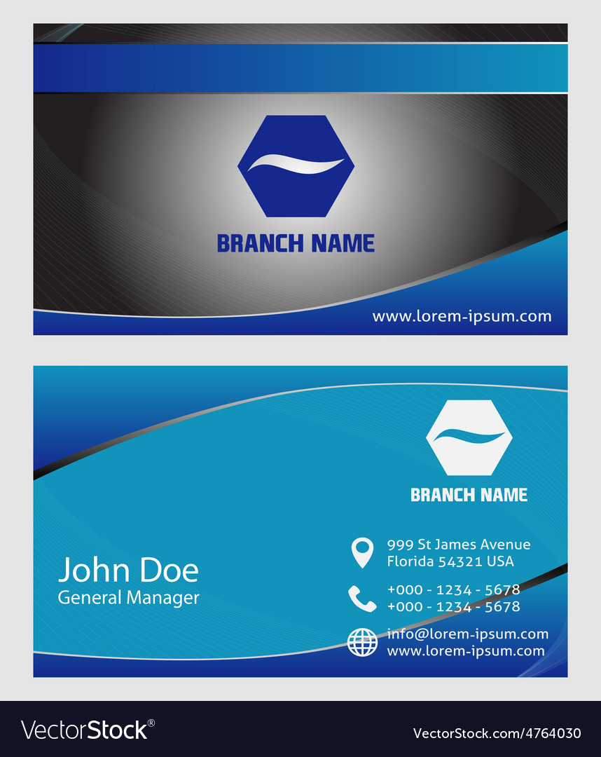 Horizontal business cards vector image