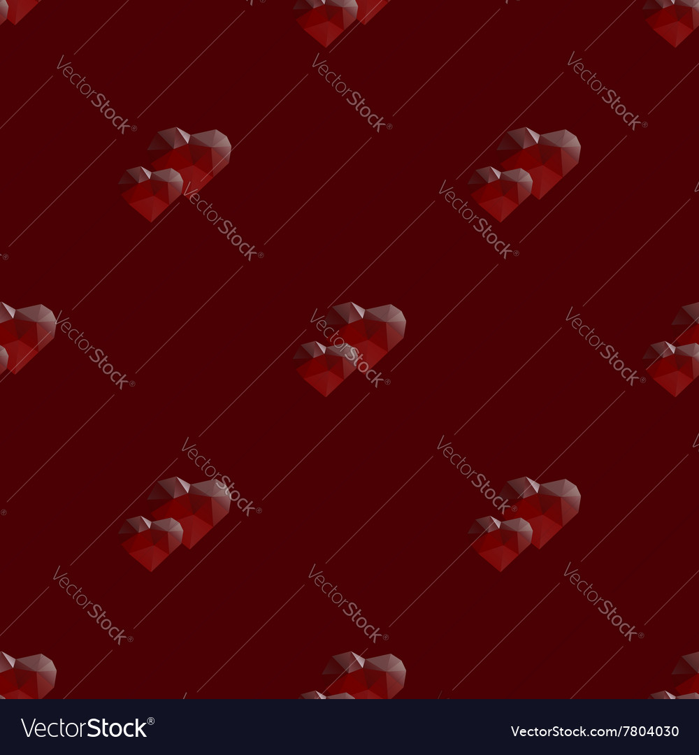 Two hearts lowpoly seamless pattern vector image