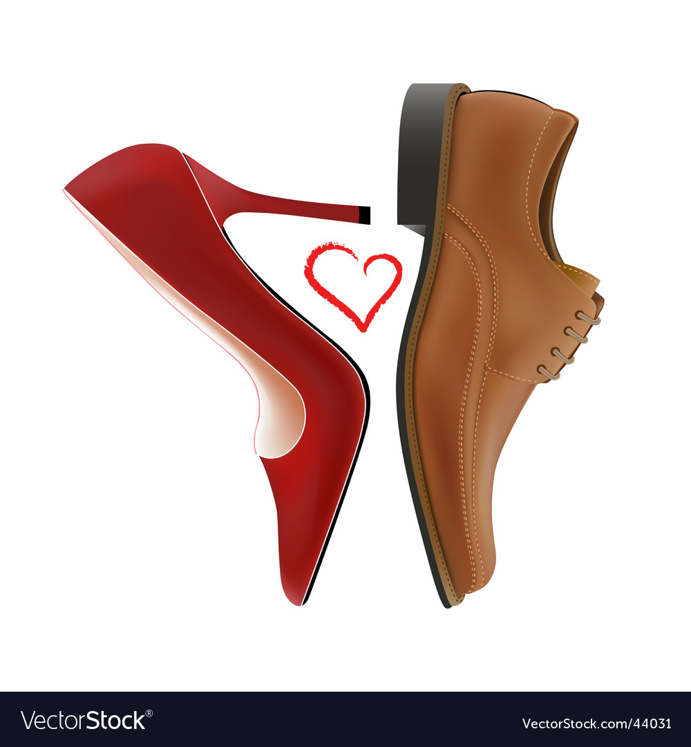 Love between shoes Vector Image
